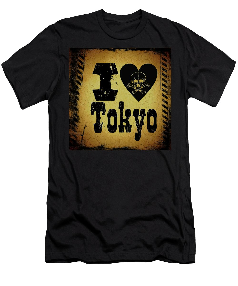 Jpunk Men's T-Shirt (Athletic Fit) featuring the digital art Old Tokyo by Randolph Ping