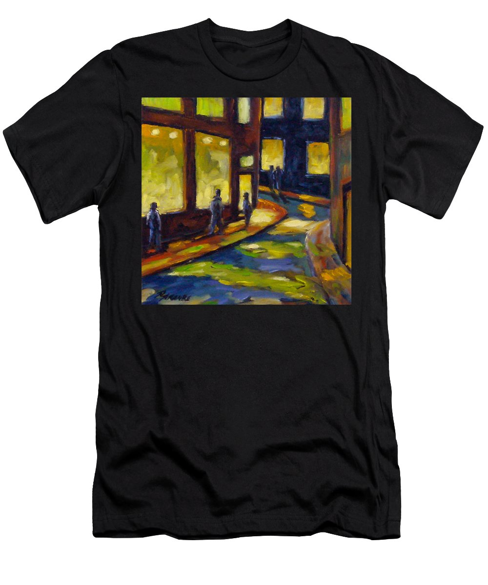 Urban; Scene; People; Night; Street; City; Scape; Love; Men's T-Shirt (Athletic Fit) featuring the painting Old Town At Night by Richard T Pranke
