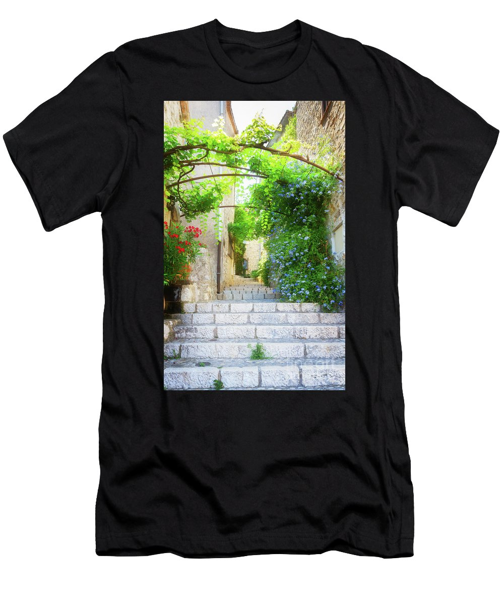 Provence Men's T-Shirt (Athletic Fit) featuring the photograph Old Town Of Provence Street by Anastasy Yarmolovich