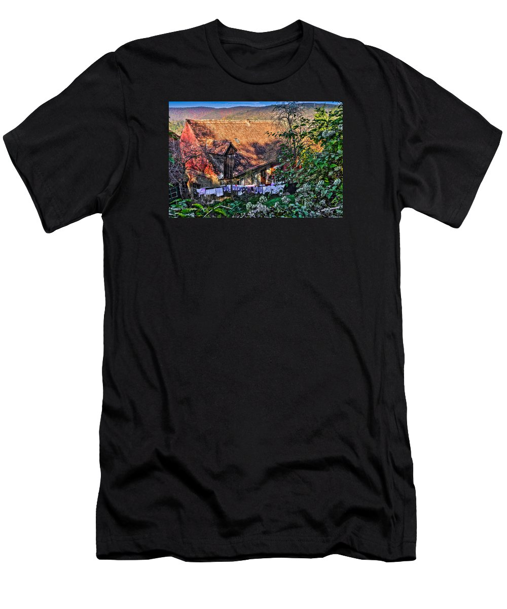 Sighisoara Men's T-Shirt (Athletic Fit) featuring the photograph Old Town, Sighisoara by Stephen Settles