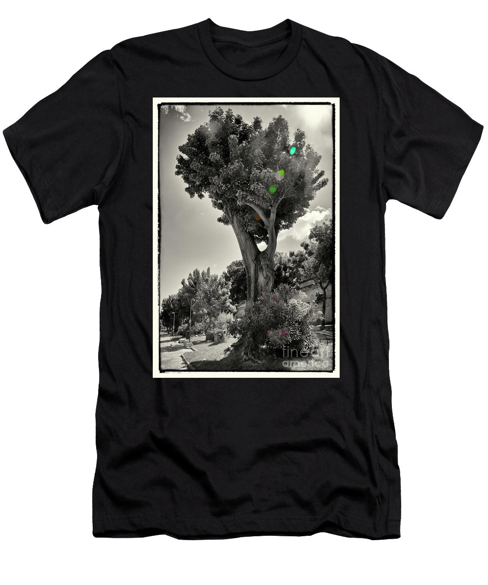 Tree Men's T-Shirt (Athletic Fit) featuring the photograph Old Tree In Sicily by Madeline Ellis