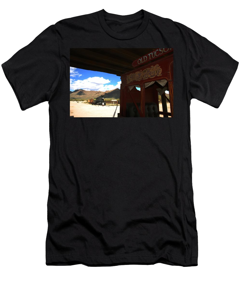 Old Tuscon Men's T-Shirt (Athletic Fit) featuring the photograph Old Tuscon Stage Coach And The Reno by Susanne Van Hulst