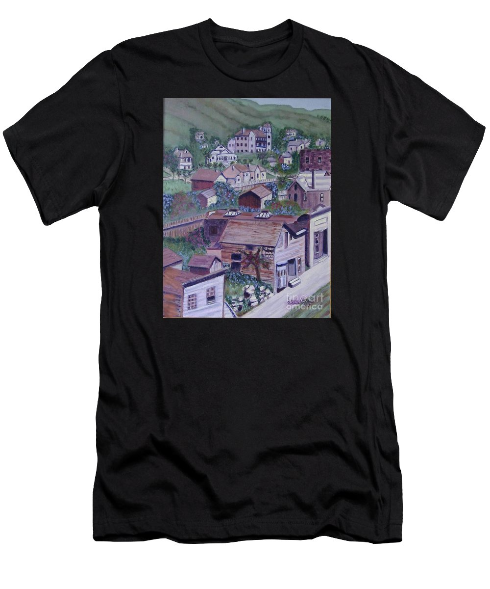 Ventura Men's T-Shirt (Athletic Fit) featuring the painting Old Ventura by Laurie Morgan