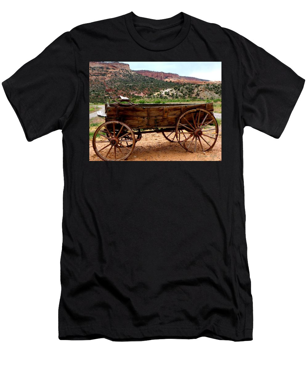 Old Wagon Men's T-Shirt (Athletic Fit) featuring the photograph Old Wagon by George Tuffy