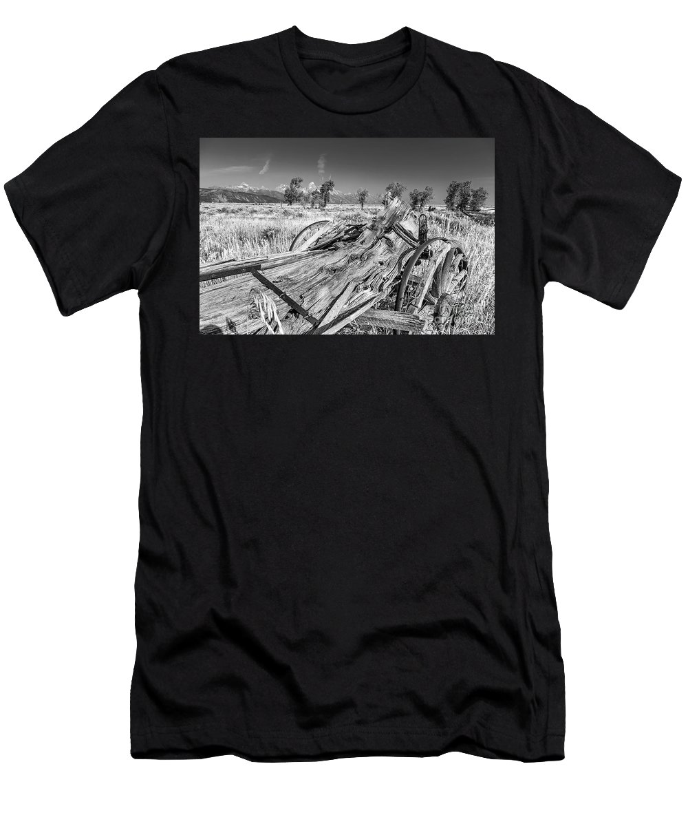 Old Rotting Wagon Men's T-Shirt (Athletic Fit) featuring the photograph Old Wagon, Jackson Hole by Daryl L Hunter