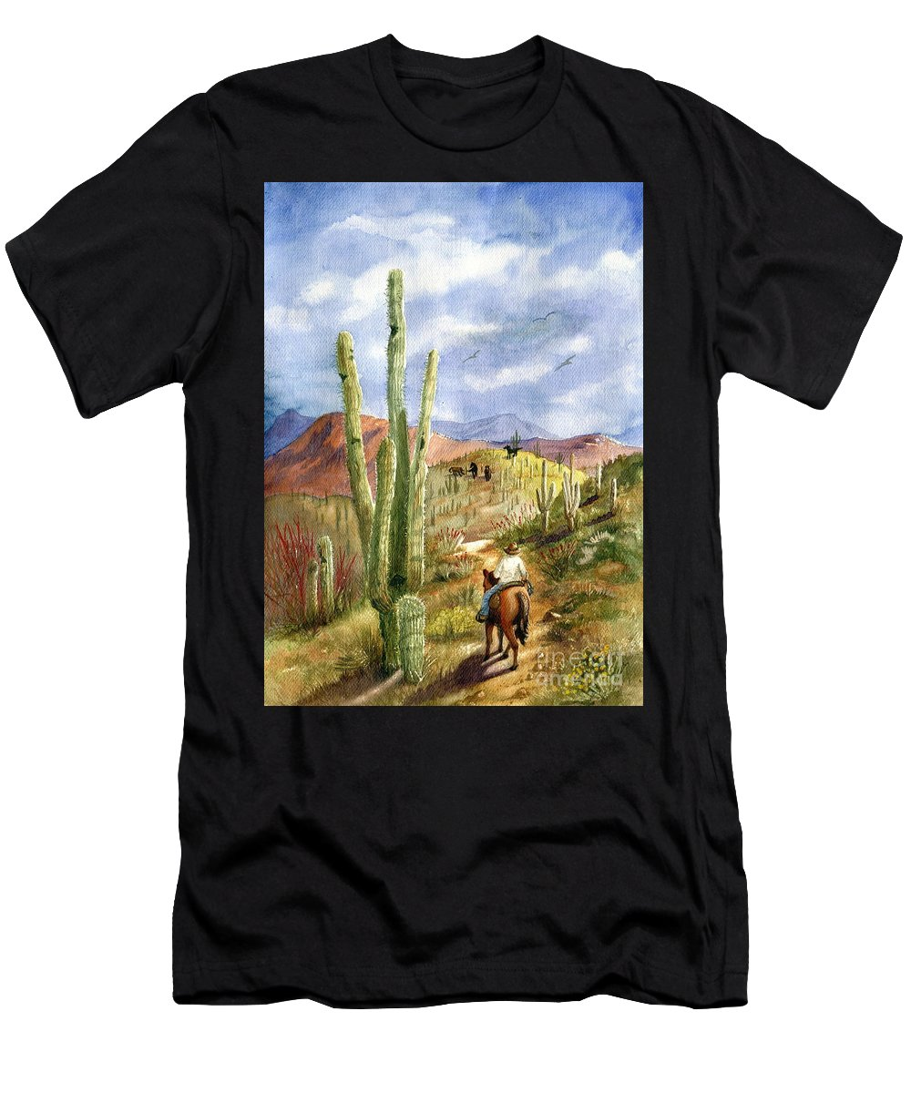 Western Scene Men's T-Shirt (Athletic Fit) featuring the painting Old Western Skies by Marilyn Smith