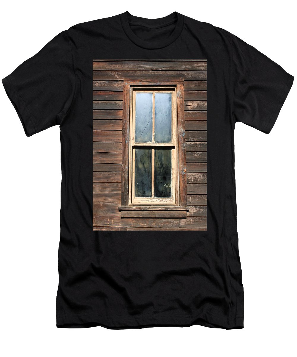 Rugged Buildings Men's T-Shirt (Athletic Fit) featuring the photograph Old Western Window by Rose Webber Hawke