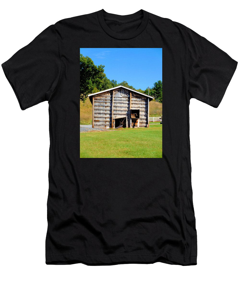 Old Wooden Barn Men's T-Shirt (Athletic Fit) featuring the painting Old Wooden Barn by Jeelan Clark