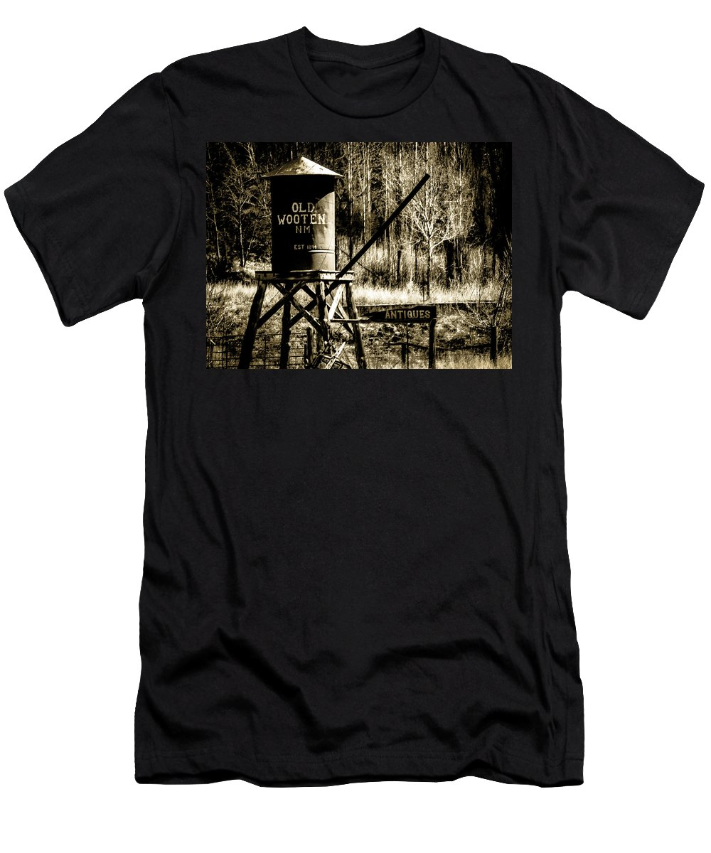 Sepia Men's T-Shirt (Athletic Fit) featuring the photograph Old Wooten by Ed Ostrander