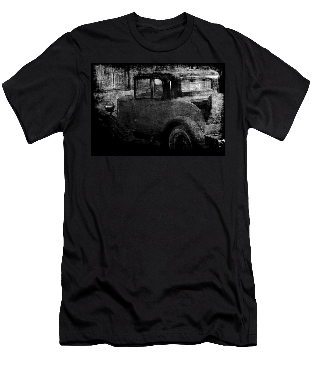 Old Cars Men's T-Shirt (Athletic Fit) featuring the photograph Oldie 1 Bw by Ernie Echols