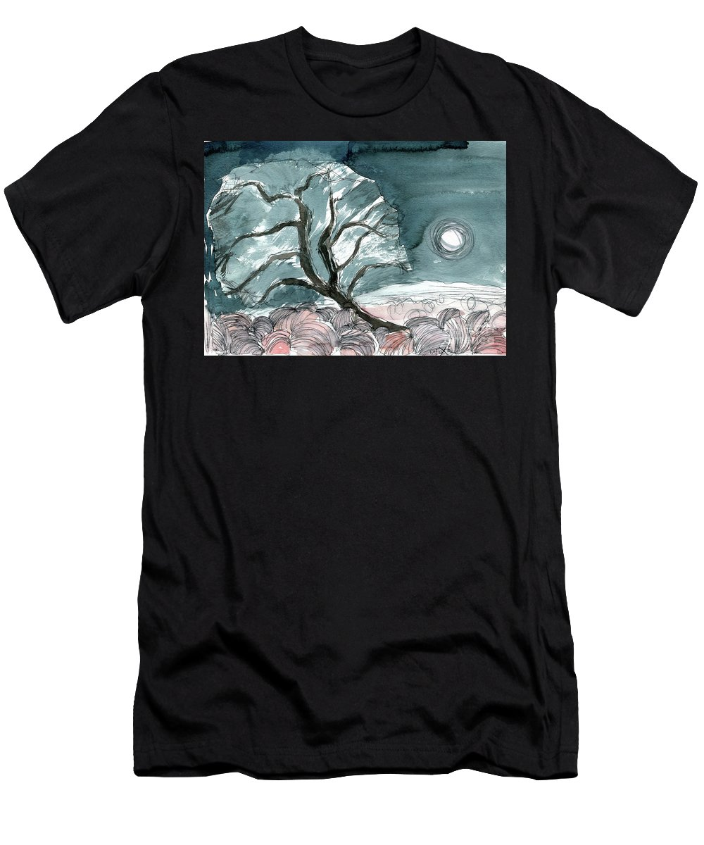 Olive Solstice - Contemporary Art - Fine Art Painting - Tuscany Painting - Watercolour Painting - Elizabethafox Men's T-Shirt (Athletic Fit) featuring the painting Olive Solstice by Elizabetha Fox