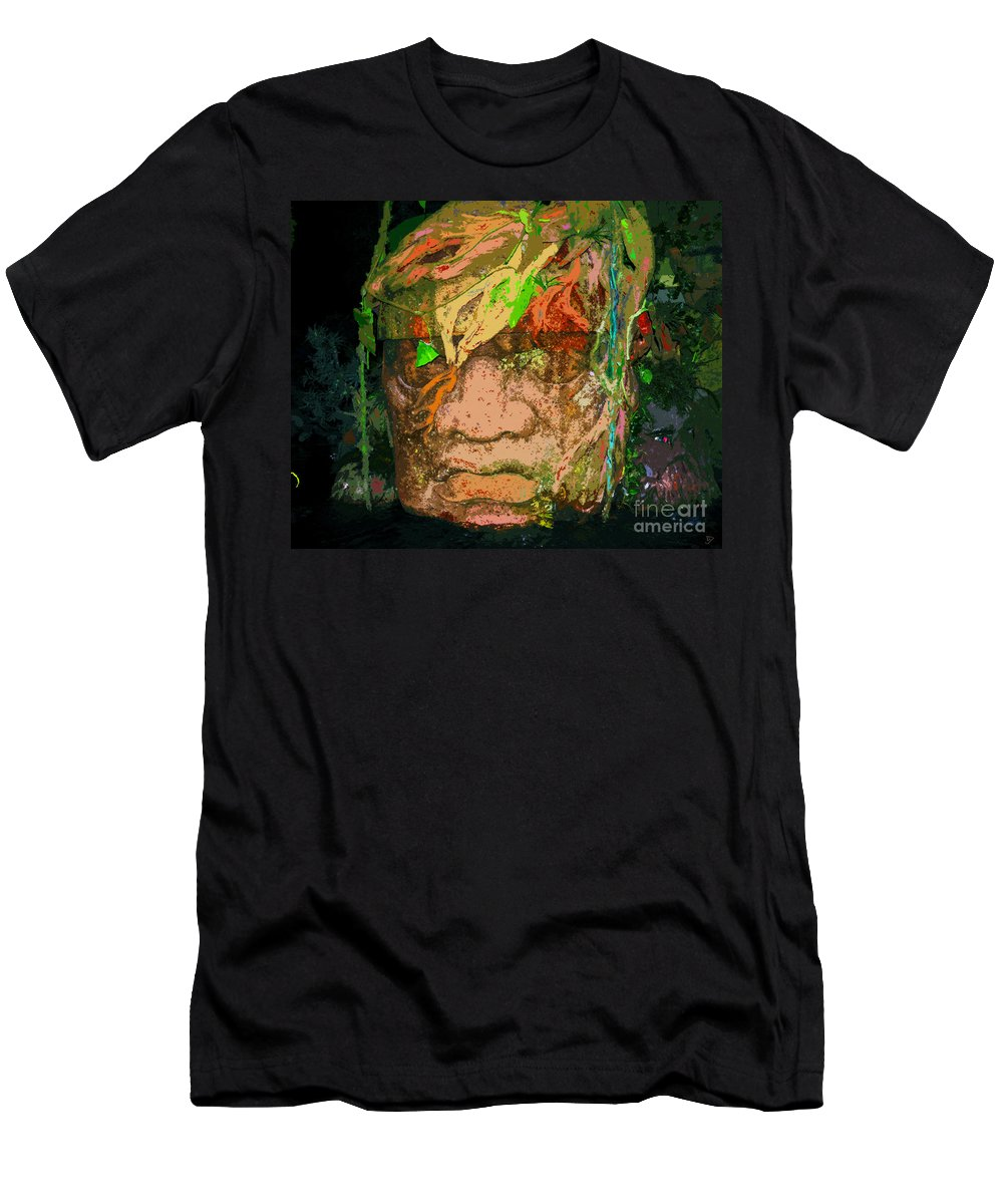 Toltec Men's T-Shirt (Athletic Fit) featuring the painting Olmec Man by David Lee Thompson