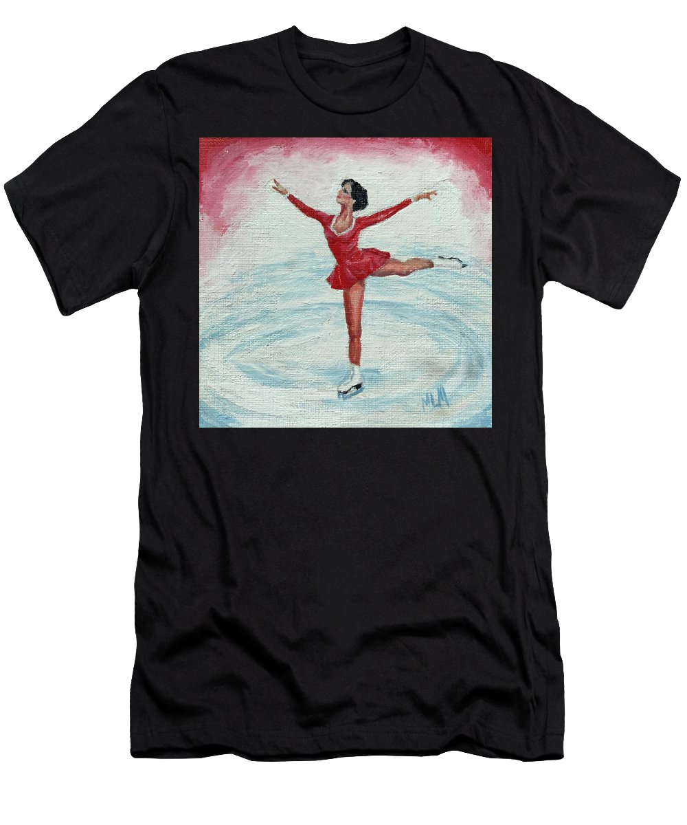 Red Men's T-Shirt (Athletic Fit) featuring the painting Olympic Figure Skater by ML McCormick