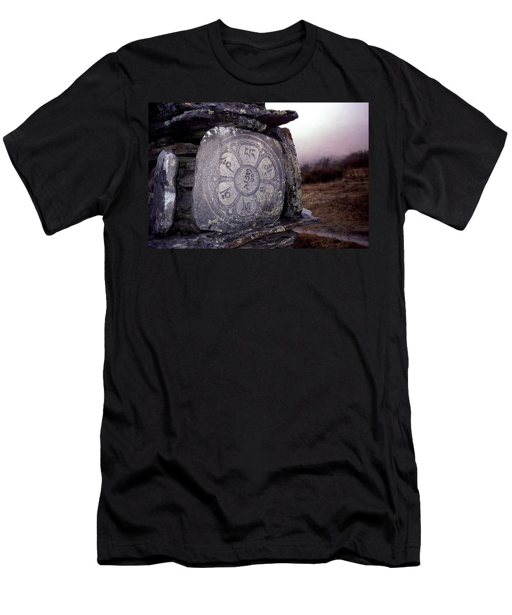 Langtang Men's T-Shirt (Athletic Fit) featuring the photograph Om Mani Padme Hum by Patrick Klauss