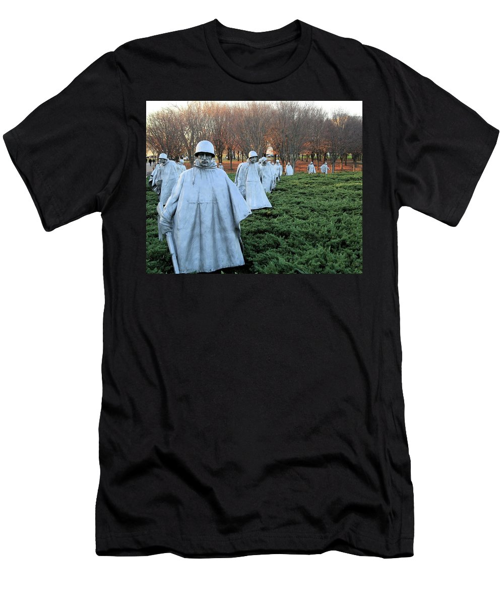 Photosbymch Men's T-Shirt (Athletic Fit) featuring the photograph On Patrol The Korean War Memorial by M C Hood