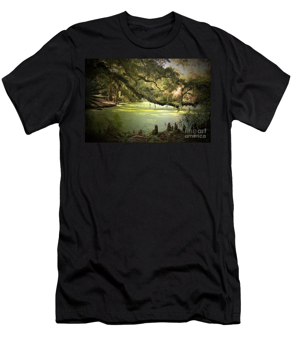 Swamp Men's T-Shirt (Athletic Fit) featuring the photograph On Swamp's Edge by Scott Pellegrin