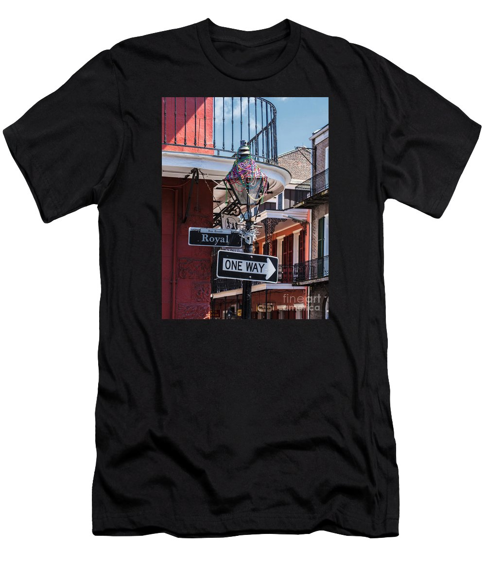 New Orleans Men's T-Shirt (Athletic Fit) featuring the photograph On The Corner Of Royal Street by Frances Ann Hattier