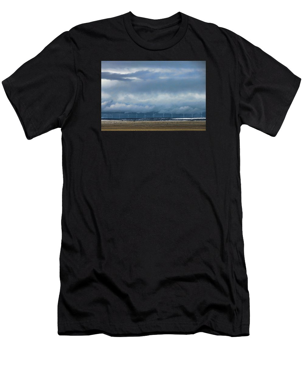 Windmills Men's T-Shirt (Athletic Fit) featuring the photograph On The Horizon by David Arment
