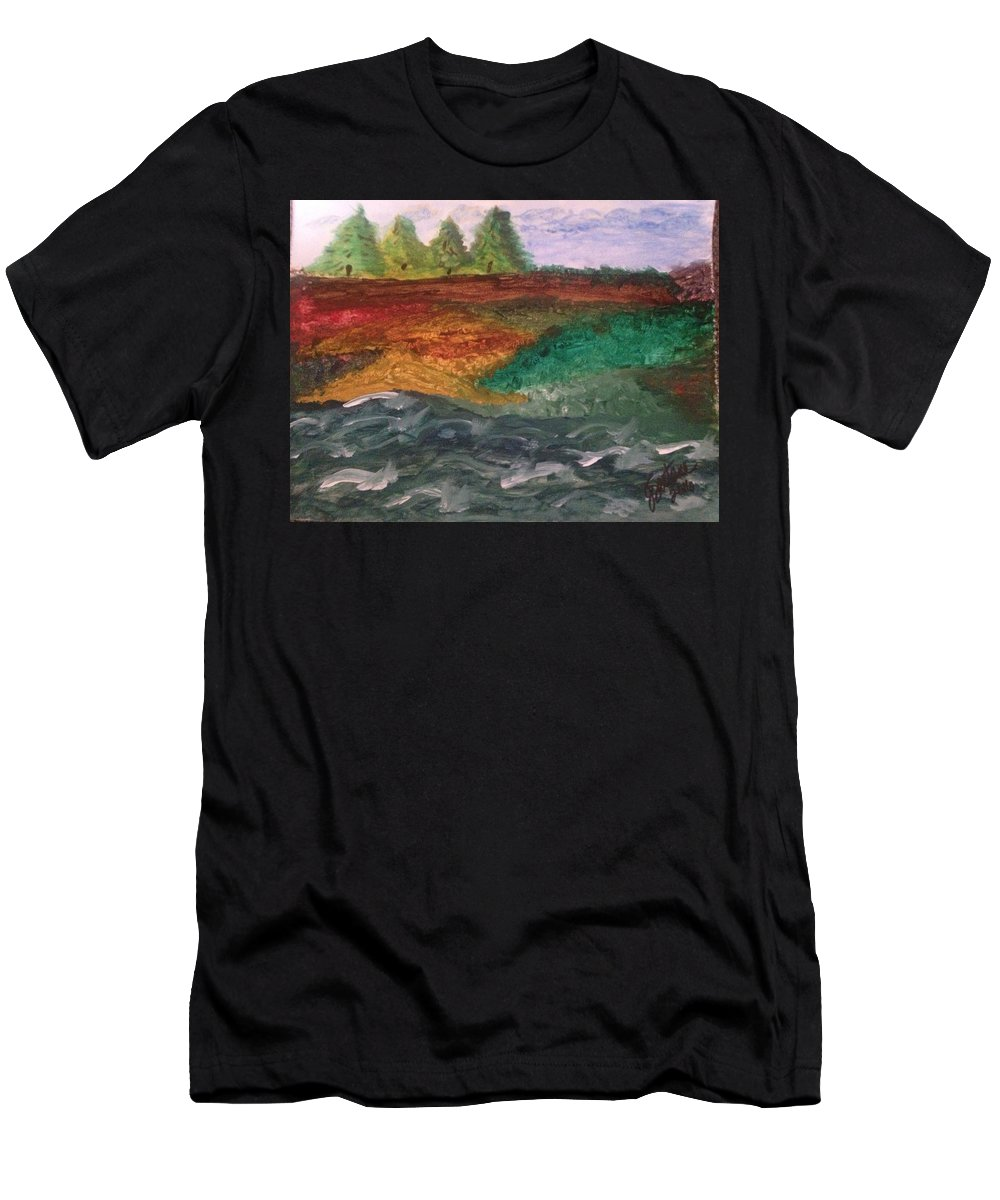 Landscape Men's T-Shirt (Athletic Fit) featuring the painting On The River's Edge by Jeannette Santana