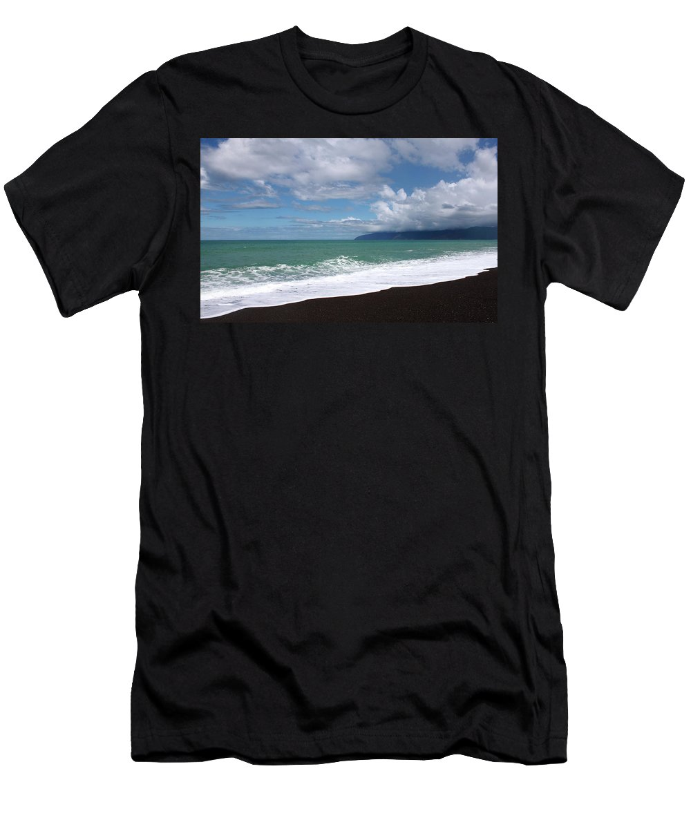 Lake Ferry Men's T-Shirt (Athletic Fit) featuring the photograph On The Shore Of Lake Ferry by Elayne Hand