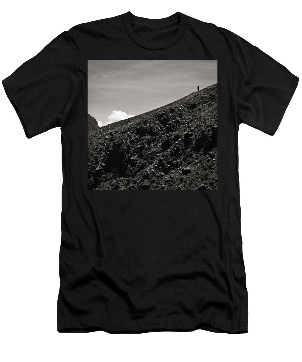 Alone Men's T-Shirt (Athletic Fit) featuring the photograph On The Slope by Konstantin Dikovsky