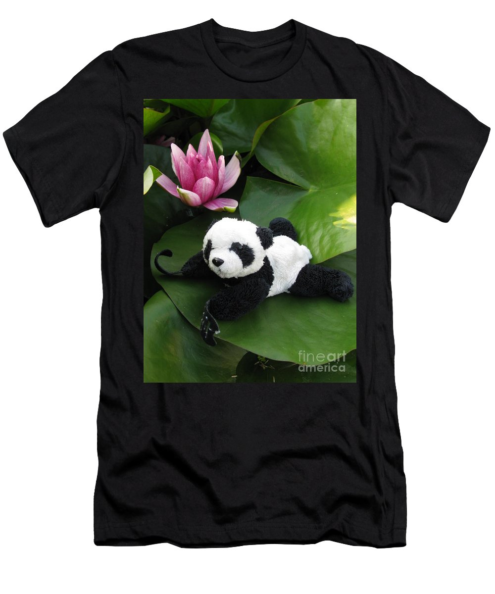 Baby Panda Men's T-Shirt (Athletic Fit) featuring the photograph On The Waterlily by Ausra Huntington nee Paulauskaite