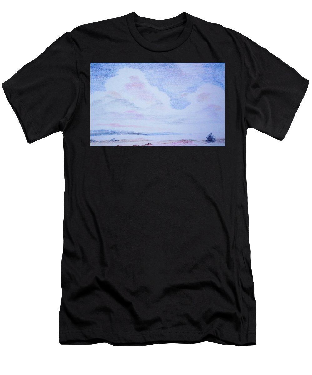 Landscape Painting Men's T-Shirt (Athletic Fit) featuring the painting On The Way by Suzanne Udell Levinger