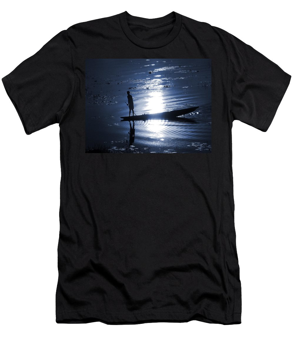 Landscape Men's T-Shirt (Athletic Fit) featuring the photograph Once Upon In A Moonlit Night by Mriganka Das