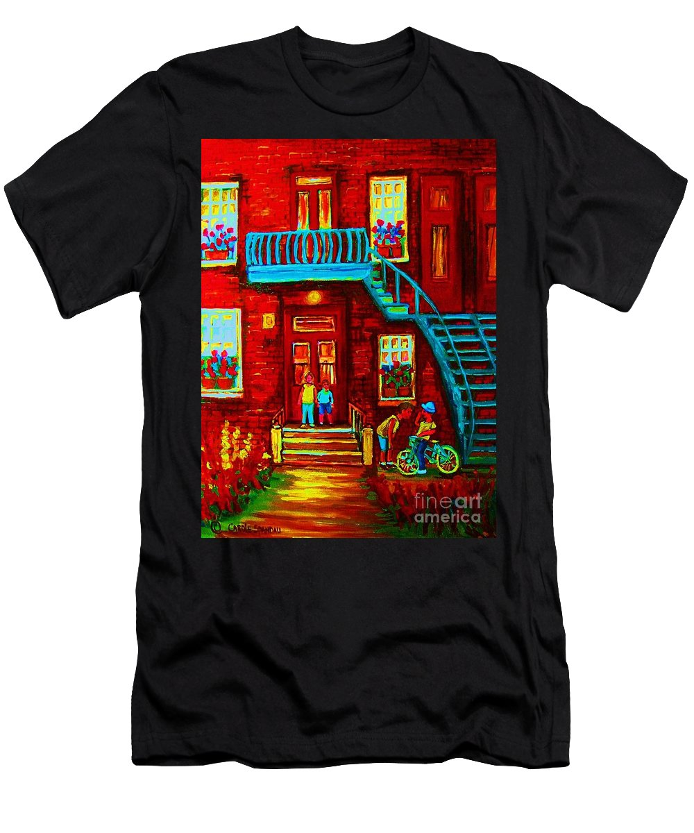 Bikes Men's T-Shirt (Athletic Fit) featuring the painting One Bike For Two Brothers by Carole Spandau