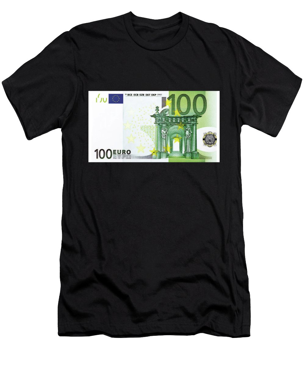 Introducing 'paper Currency' Collection By Serge Averbukh Men's T-Shirt (Athletic Fit) featuring the digital art One Hundred Euro Bill by Serge Averbukh