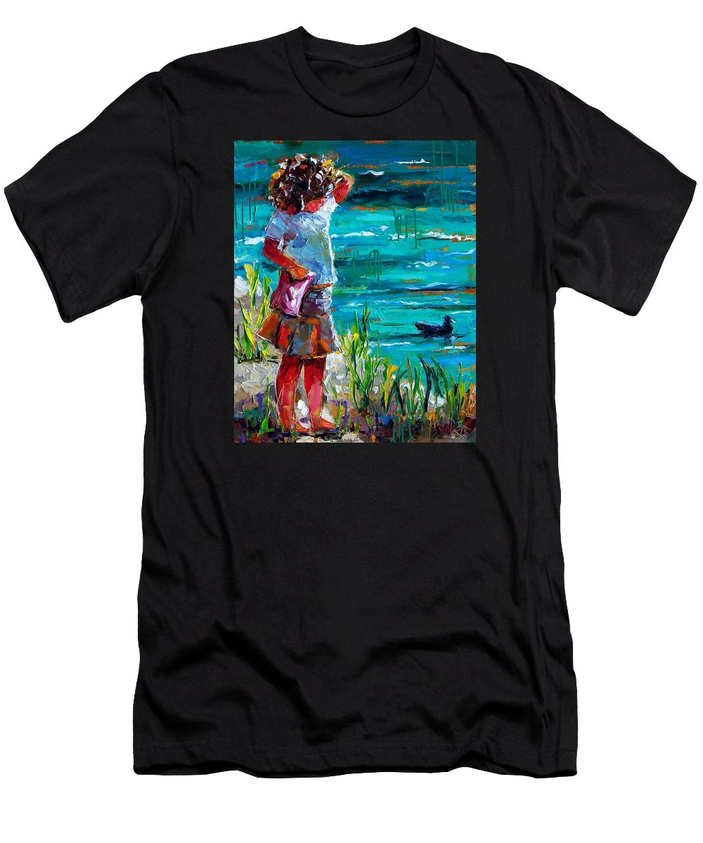 Children Men's T-Shirt (Athletic Fit) featuring the painting One Lucky Duck by Debra Hurd