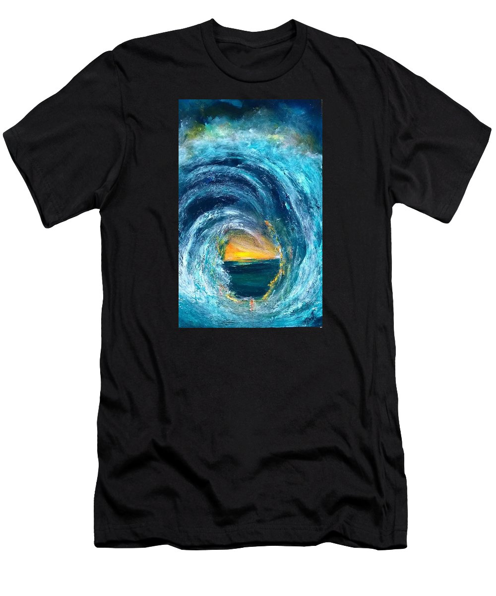 Waves Men's T-Shirt (Athletic Fit) featuring the painting One Summer's Sunrise by PJ McNally