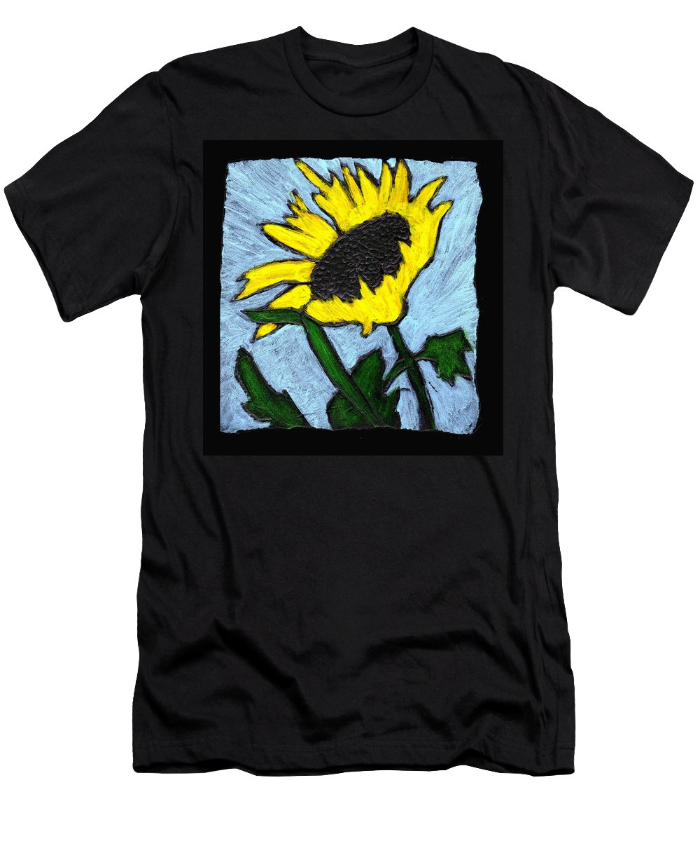Flower Men's T-Shirt (Athletic Fit) featuring the painting One Sunflower by Wayne Potrafka