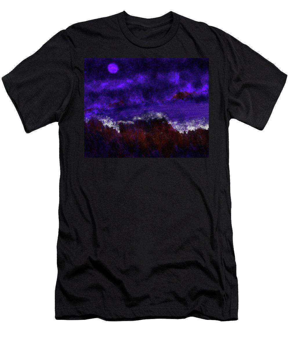 Men's T-Shirt (Athletic Fit) featuring the digital art Oocean In The Moonlight by Vijay Prakash