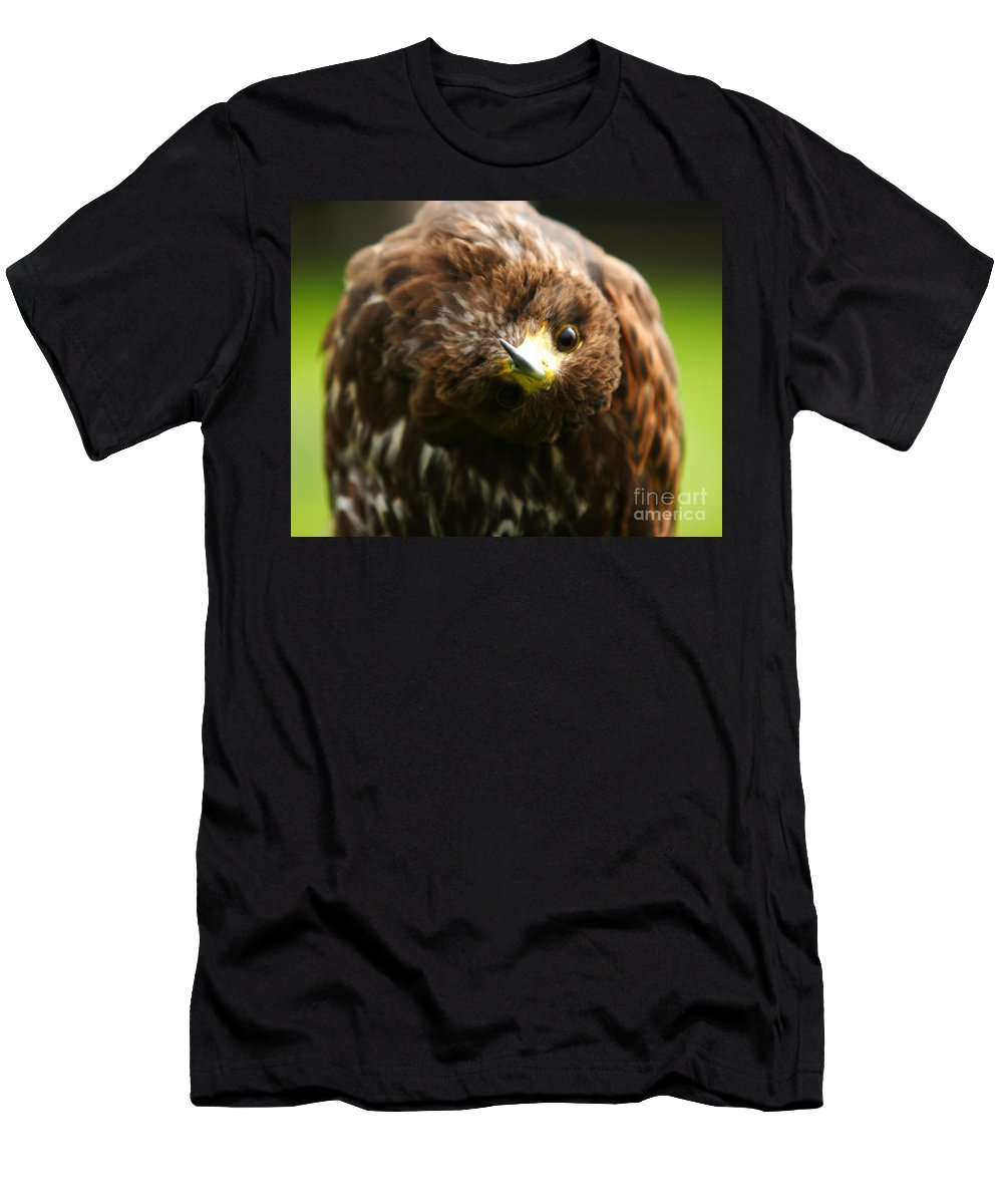 Buzzard Men's T-Shirt (Athletic Fit) featuring the photograph Oops I Have Gone Mad by Angel Ciesniarska