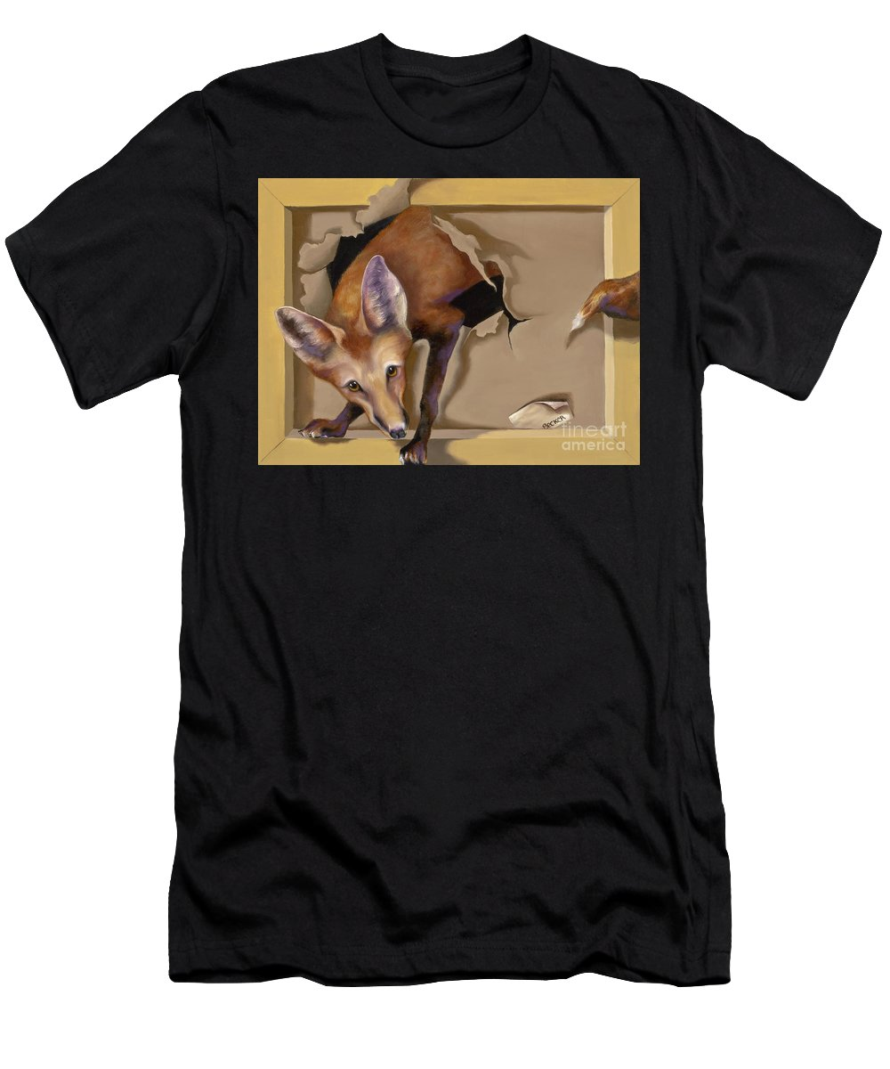 Trompe Loeil Men's T-Shirt (Athletic Fit) featuring the painting Oops I Was Looking For The Hen House by Susan A Becker