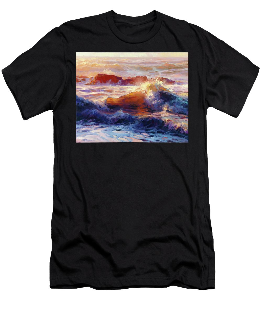 Ocean Men's T-Shirt (Athletic Fit) featuring the painting Opalescent Sea by Steve Henderson