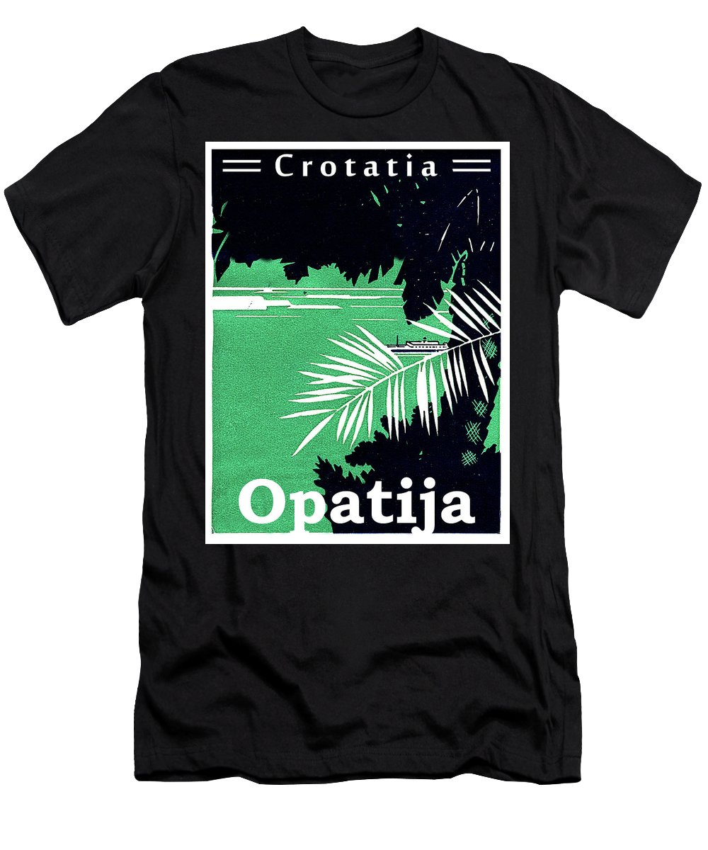 Opatija Men's T-Shirt (Athletic Fit) featuring the painting Opatija, Croatia, Adriatic Sea by Long Shot