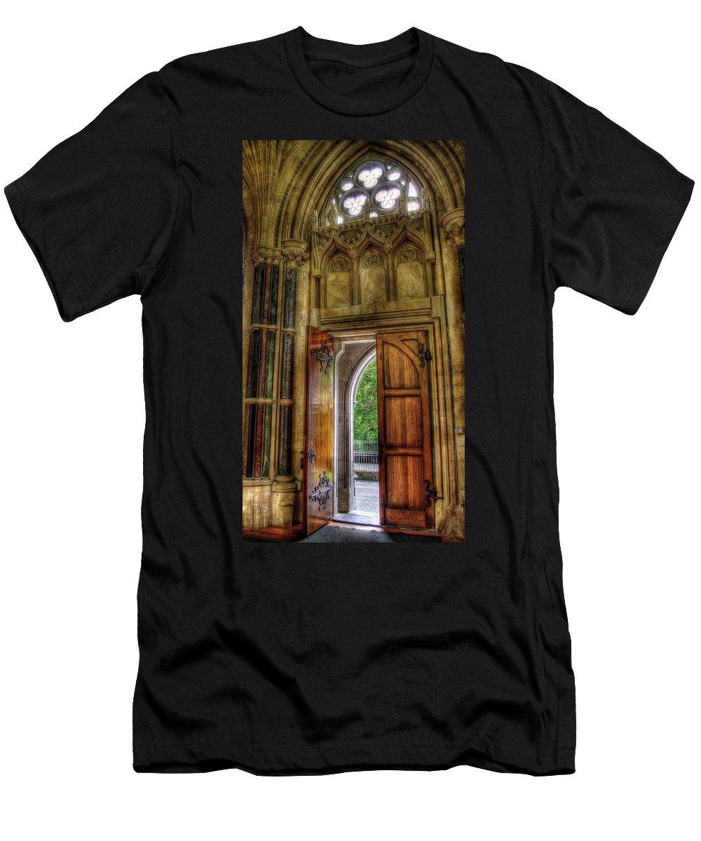 Doors Men's T-Shirt (Athletic Fit) featuring the photograph Open Doors by Rebekah Shennan