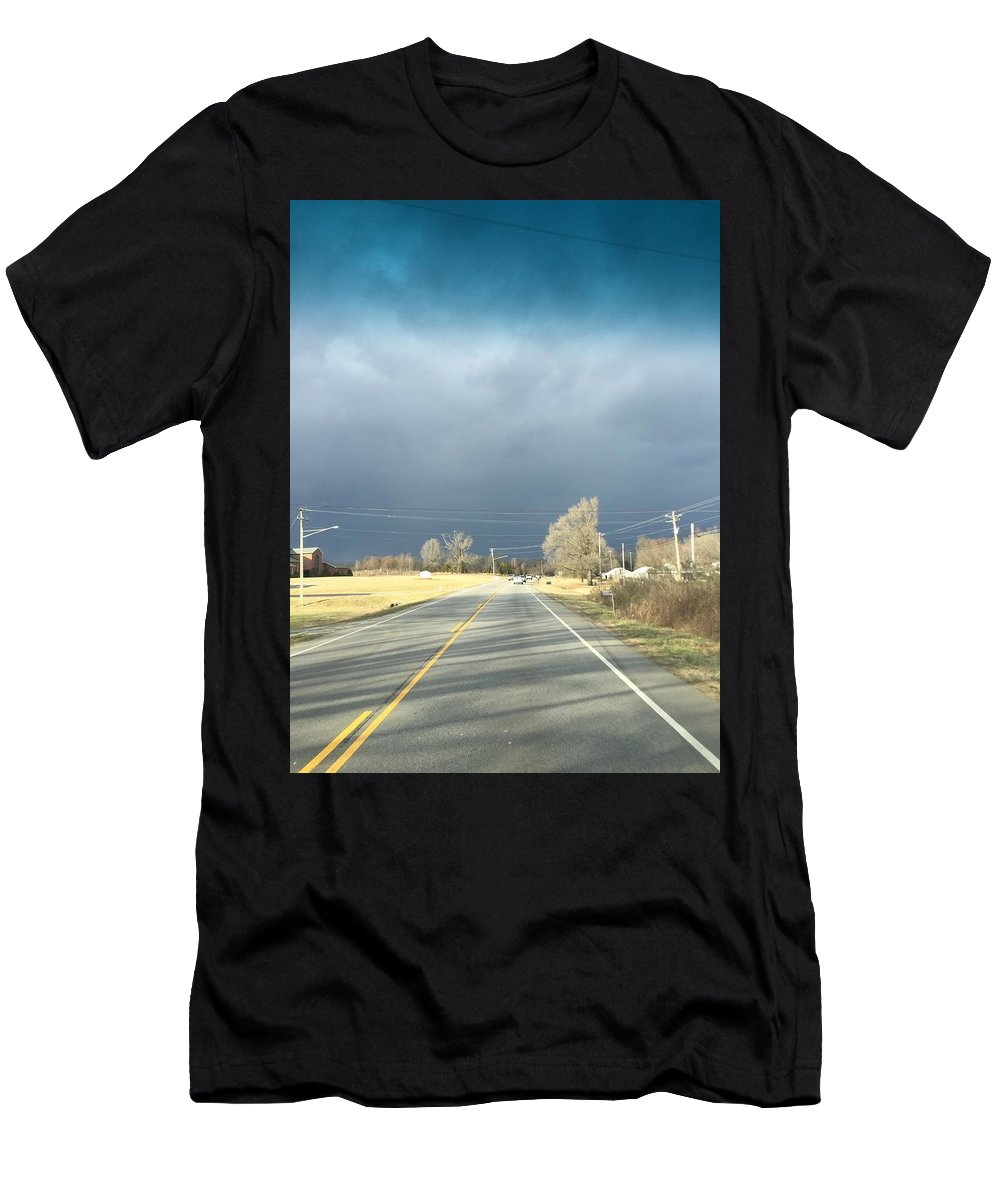 Road Men's T-Shirt (Athletic Fit) featuring the photograph Open Road by Mary Little Big Eagle