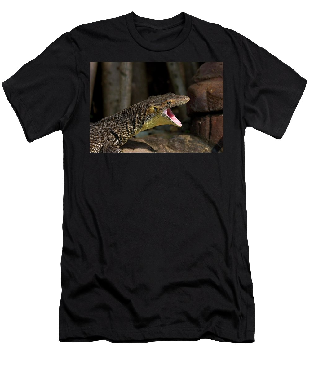 Water Monitor Men's T-Shirt (Athletic Fit) featuring the photograph Open Wide by Mike Dawson