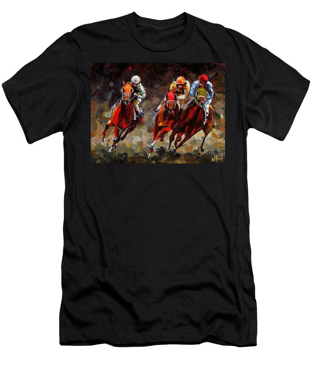 Horse Race T-Shirt featuring the painting Opening Day by Debra Hurd