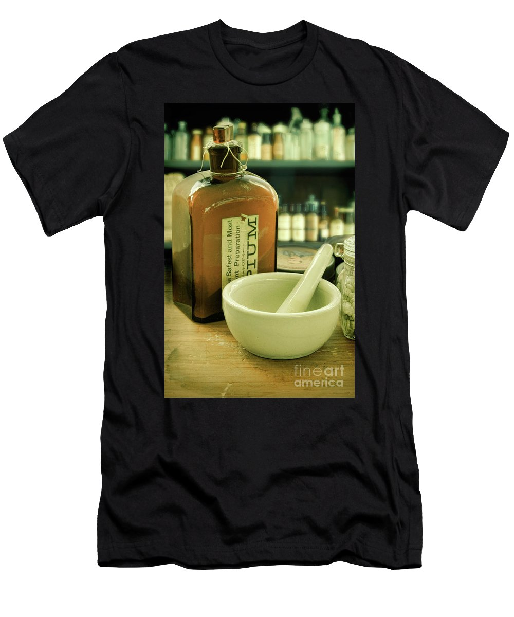 Opium Men's T-Shirt (Athletic Fit) featuring the photograph Opium Bottle In Apothecary by Jill Battaglia