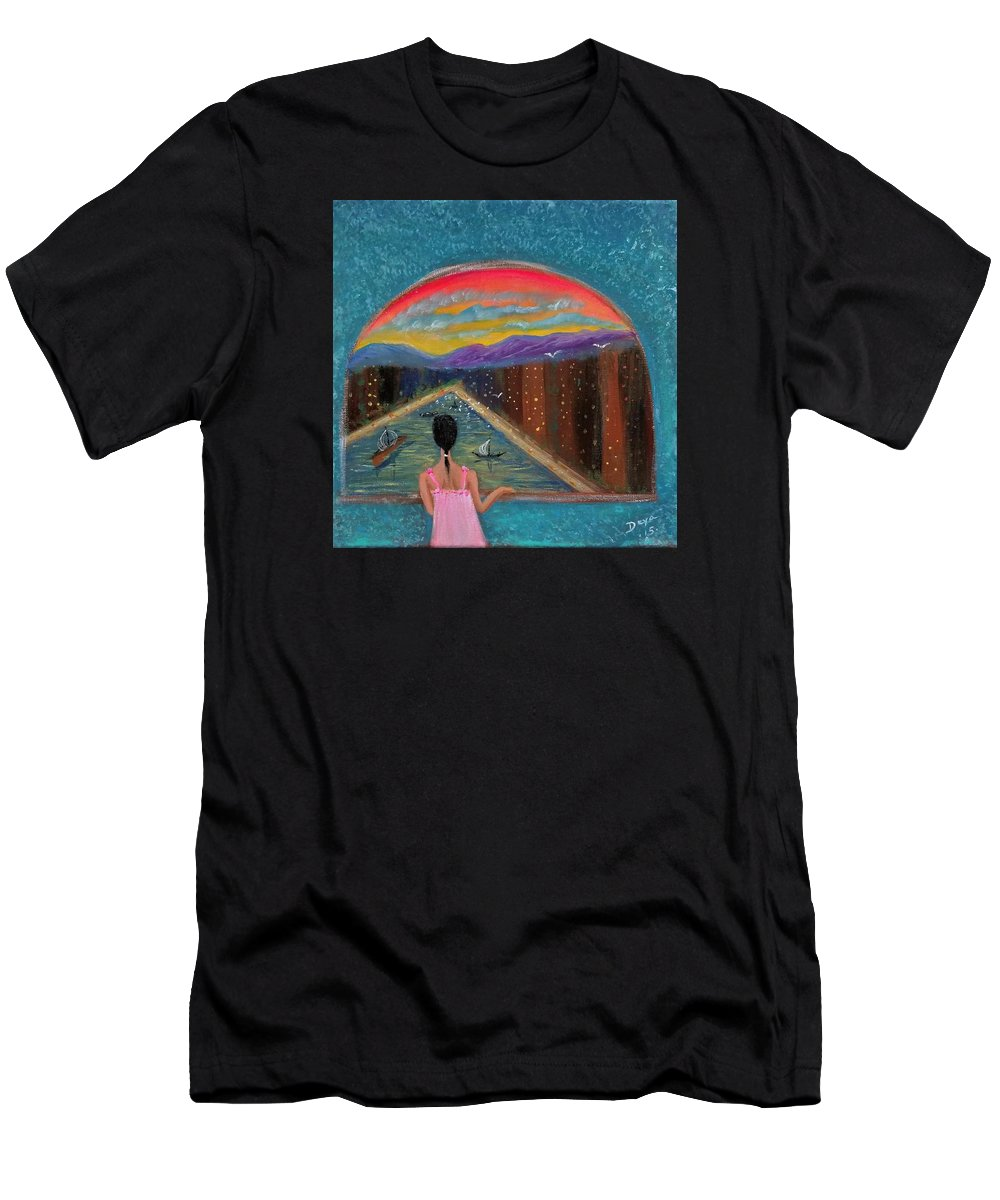 Landscape Men's T-Shirt (Athletic Fit) featuring the painting Optimistic Window by Deyanira Harris