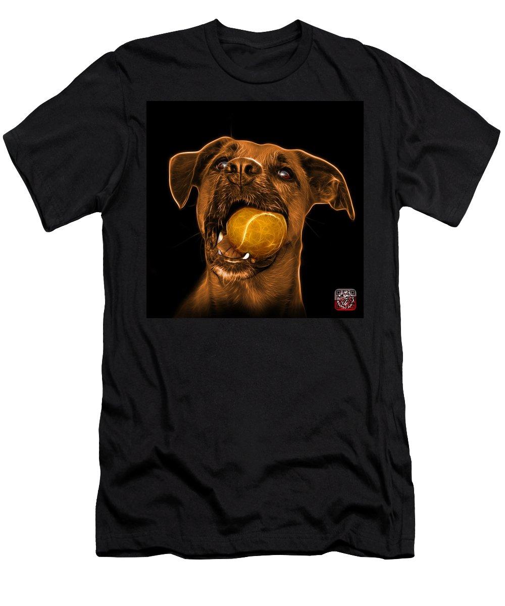 Dog Men's T-Shirt (Athletic Fit) featuring the digital art Orange Boxer Mix Dog Art - 8173 - Bb by James Ahn
