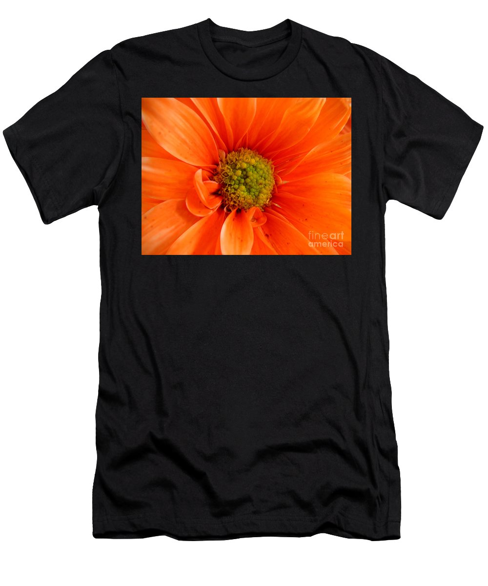 Nature Men's T-Shirt (Athletic Fit) featuring the photograph Orange Daisy - A Center View by Lucyna A M Green