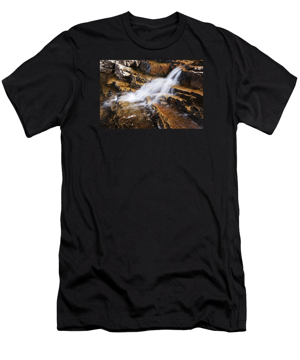 Orange Falls Men's T-Shirt (Athletic Fit) featuring the photograph Orange Falls by Chad Dutson