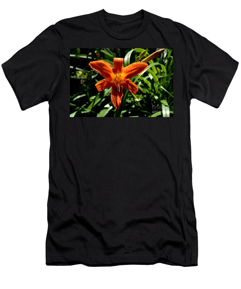 Flower Men's T-Shirt (Athletic Fit) featuring the photograph Orange Flower Of Summer by Reva Steenbergen