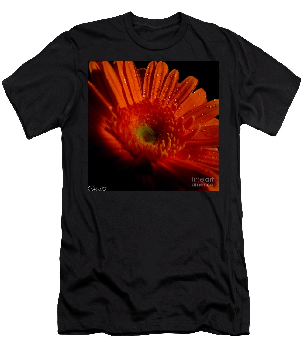 Macro Men's T-Shirt (Athletic Fit) featuring the photograph Orange Gerbera by September Stone