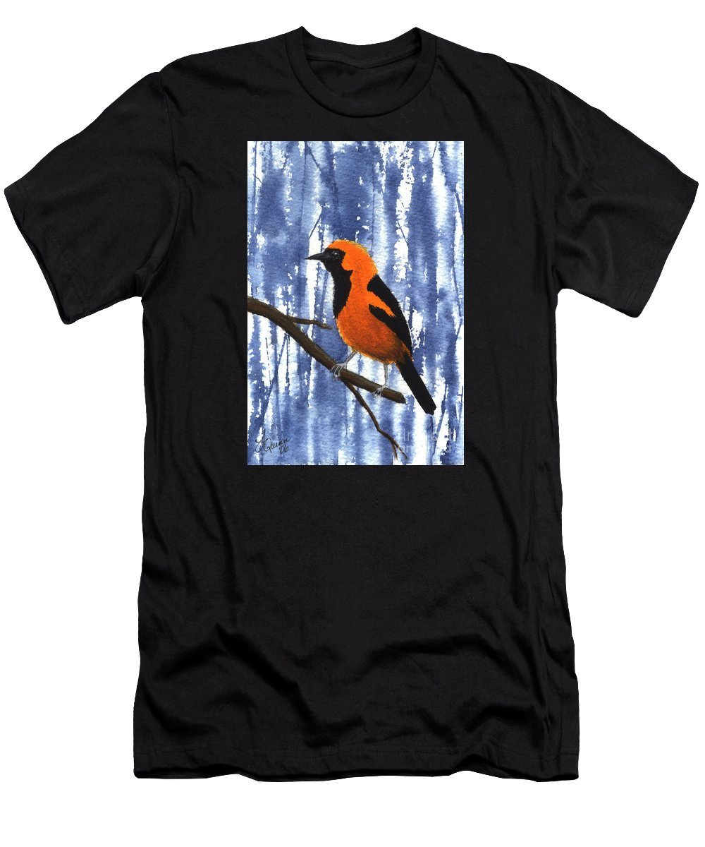 Bird Men's T-Shirt (Athletic Fit) featuring the painting Orange-headed Oriole by Lynn Quinn